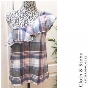 CLOTH & STONE Ruffled One Shoulder Plaid Top